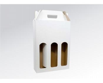 Náhled produktu Papírová krabice na 3 lahve vína WINEBOX WHITE - 24 x 34,5 x 8 cm