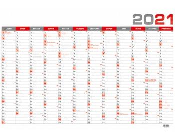 Náhled produktu Nástěnný roční kalendář 2021, B1 - červená