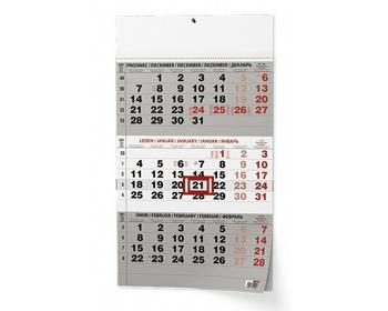 Náhled produktu Tříměsíční nástěnný kalendář s mezinárodními svátky 2021 - černá
