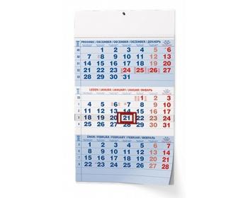 Náhled produktu Tříměsíční nástěnný kalendář s mezinárodními svátky 2021 - modrá