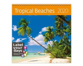 Náhled produktu Nástěnný kalendář Tropical Beaches 2020 - se samolepkami