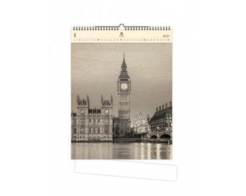Náhled produktu Luxusní dřevěný nástěnný kalendář Big Ben 2021
