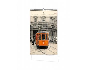 Náhled produktu Luxusní dřevěný nástěnný kalendář Tram 2021