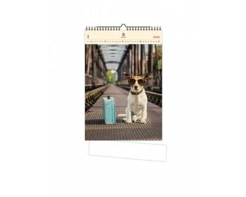 Náhled produktu Luxusní dřevěný nástěnný kalendář Dog 2021