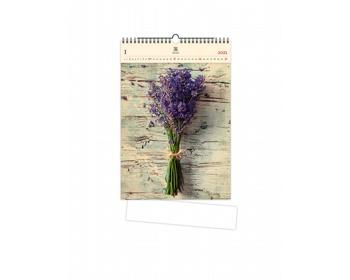 Náhled produktu Luxusní dřevěný nástěnný kalendář Lavender 2021