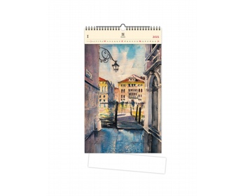 Náhled produktu Luxusní dřevěný nástěnný kalendář Aquarelle 2021