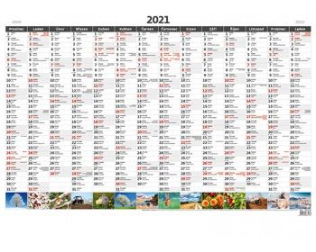 Náhled produktu Roční nástěnný plánovací kalendář A1 2021 - s obrázky