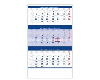 Náhled produktu Tříměsíční nástěnný kalendář 2020 - modrý