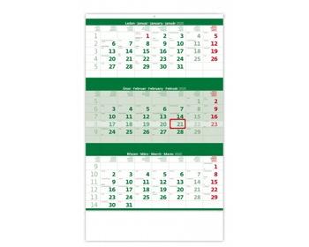 Náhled produktu Tříměsíční nástěnný kalendář 2020 - zelený