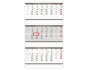 Náhled produktu Tříměsíční nástěnný skládaný kalendář 2021 - šedý