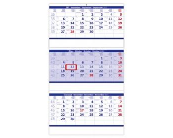 Náhled produktu Tříměsíční nástěnný skládaný kalendář 2021 - modrý