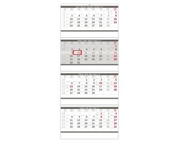 Náhled produktu Čtyřměsíční nástěnný kalendář skládaný 2020 - šedý