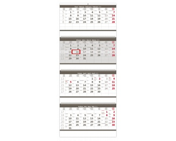 Náhled produktu Čtyřměsíční nástěnný skládaný kalendář 2021 - šedý