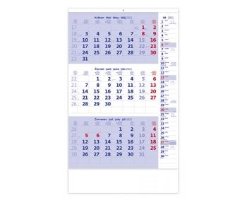 Náhled produktu Tříměsíční nástěnný kalendář s poznámkami 2021 - modrý