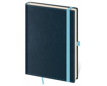 Náhled produktu Poznámkový čtverečkovaný blok Double Blue, 14x20cm - modrá
