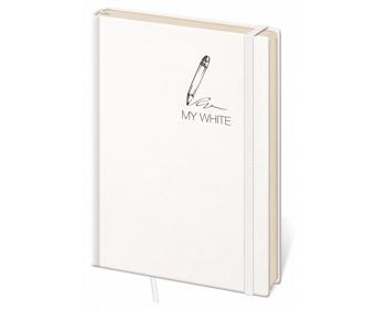 Náhled produktu Poznámkový linkovaný blok My White, 9x14cm - bílá