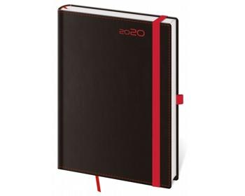 Náhled produktu Denní diář Black Red 2020 s poutkem, A5 - černá / červená