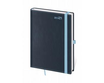 Náhled produktu Denní diář Double Blue 2021 s poutkem, A5 - modrá