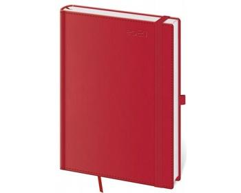 Náhled produktu Týdenní diář Double Red 2021 s poutkem, A5 - červená