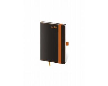 Náhled produktu Kapesní týdenní diář Black Orange 2021 s poutkem, 9x14 cm - černá / oranžová