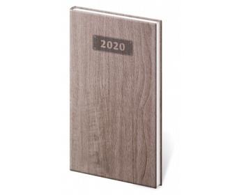 Náhled produktu Kapesní týdenní diář Wood 2020, 8x15cm - tmavě hnědá