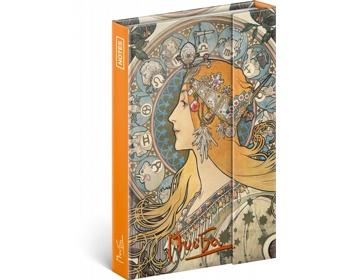 Náhled produktu Poznámkový linkovaný notes Alfons Mucha - Zodiak, 11x16cm