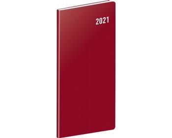 Náhled produktu Kapesní měsíční diář Vínový 2021 plánovací, 8x18 cm