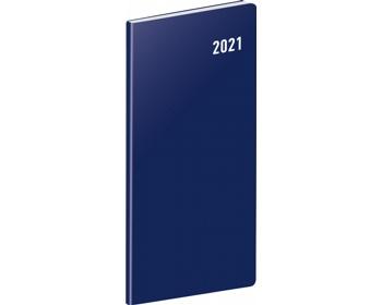 Náhled produktu Kapesní měsíční diář Modrý 2021 plánovací, 8x18 cm