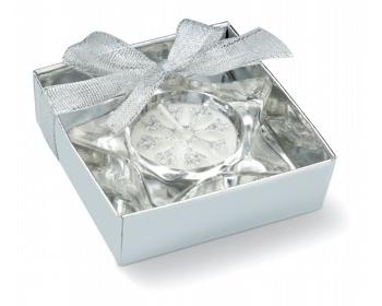 Náhled produktu Skleněný svícen SIMEON ve tvaru hvězdy - matně stříbrná