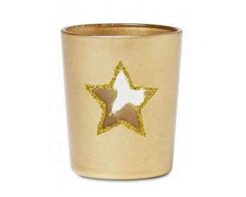 Náhled produktu Skleněný vánoční svícen ANTED s průhledem tvaru hvězdy - krémová champagne