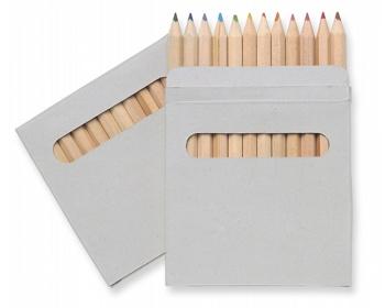 Náhled produktu Sada dřevěných pastelek BOOAY v papírové krabičce, 12 ks - hnědá