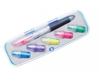 Náhled produktu Plastové kuličkové pero JIVES s vyměnitelnými zvýrazňovači - vícebarevné