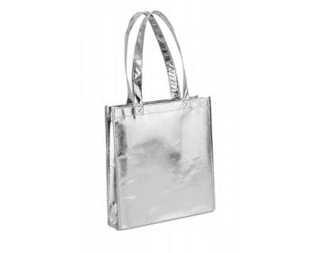 Náhled produktu Metalizovaná nákupní taška TILDA - ocelově stříbrná/šedá