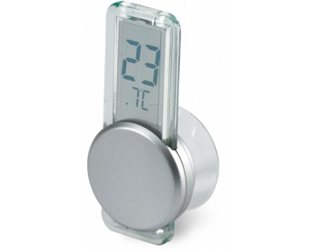 Náhled produktu Plastový LCD teploměr JOSS s přísavkou - stříbrná