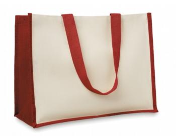 Náhled produktu Jutová nákupní taška LETHE s dlouhými uchy - červená