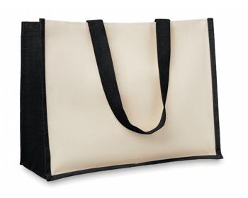 Náhled produktu Jutová nákupní taška LETHE s dlouhými uchy - černá