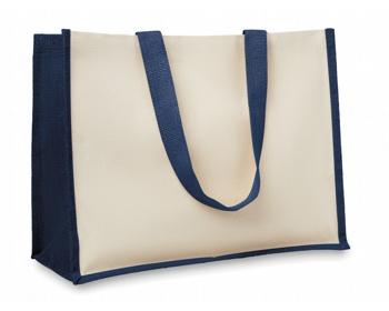 Náhled produktu Jutová nákupní taška LETHE s dlouhými uchy - modrá