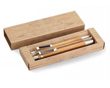 Náhled produktu Bambusová psací sada JESTS s perem a tužkou - hnědá (dřevo)