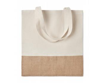 Náhled produktu Látková nákupní taška WEAVER s jutovými detaily - béžová