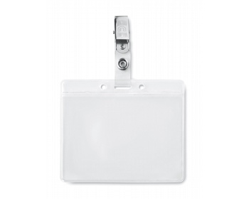 Náhled produktu Plastové pouzdro na ID kartu SPACIOUS s kovovým klipem - transparentní