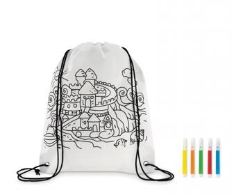 Náhled produktu Stahovací batoh BURGH s fixy na vybarvení - bílá