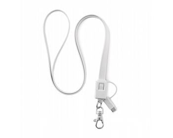 Náhled produktu Silikonový lanyard QUEENS s micro USB konektorem typu C - bílá