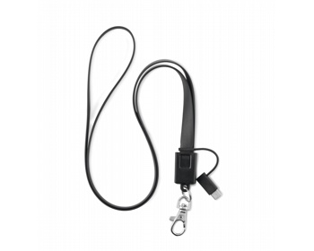Náhled produktu Silikonový lanyard QUEENS s micro USB konektorem typu C - černá