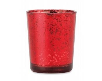Náhled produktu Skleněný vánoční stojánek na svíčku RODS v dárkovém vánočním balení s mašlí - červená