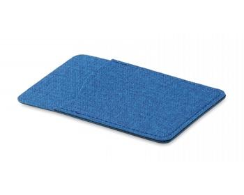 Náhled produktu Polyesterové pouzdro na kartu WEEDY s lepítkem na zadní straně - modrá