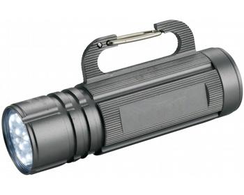 Náhled produktu Kovová LED blikačka CRYPT s karabinkou - stříbrná