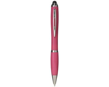 Náhled produktu Plastové kuličkové pero a stylus SPIES s otočným mechanismem - světle fialová