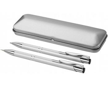 Náhled produktu Sada kuličkového pera a mikrotužky GRATO v dárkovém pouzdře - stříbrná