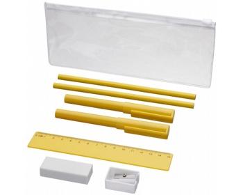 Náhled produktu Plastový penál FRIES a psací potřeby, 8 komponentů - žlutá