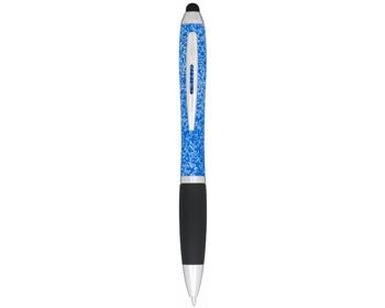 Náhled produktu Plastové kuličkové pero DRIER se stylusem a kropenatým designem - bílá / modrá